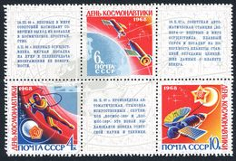 Russia 3456-3458a Block,MNH.Cosmonaut's Day.Space Walk,Exploration Of Venus,1968 Space - Astrology