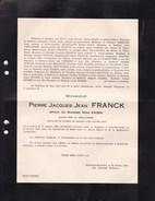 ANVERS UCCLE Pierre Jacques FRANCK époux KAISIN Avocat 1882-1945 Faire-part Mortuaire 2 Volets Complets - Overlijden