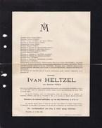 UCCLE EVERE Adelaïde POELS épouse Ivan HELTZEL  71 Ans En 1912 Faire-part Mortuaire - Décès