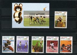 CAPE VERDE 1980 Sc#403-409 SUMMER OLYMPIC GAMES MOSCOW 6 STAMPS & S/S MNH Soccer Tennis Basketball CV $ 25.00 - Summer 1980: Moscow