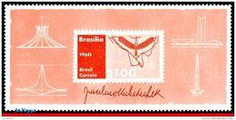 Ref. BR-908 BRAZIL 1960 ARCHITECTURE, JUSCELINO KUBITSCHEK,, PRESIDENT, BUILDER OF BRASILIA, S/S MNH 1V Sc# 908 - Brazil