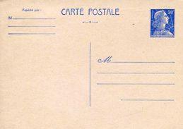 """Entier Postal De 1957  Sur Carton Rosé Avec Timbre Bleu """"Type Marianne De Muller"""" - Postal Stamped Stationery"""
