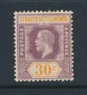 STRAITS SETTLEMENTS, 1921 30c Die I Wmk Script CA Very Fine Mounted Mint, SG235, Cat £30 - Straits Settlements