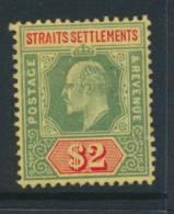 STRAITS SETTLEMENTS, 1908 $2 Very Fine Mounted Mint, Cat £29 - Straits Settlements