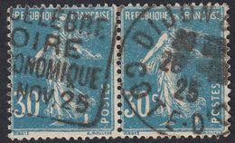 FRANCE Francia Frankreich -  1925 - Due Valori Yvert 192 Obliterati, Uniti Fra Loro, Blu, 30 Cent., Semeuse. - Frankreich