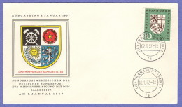 GER SC #754 1957 Saar Coat Of Arms FDC 01-02-1957 - FDC: Covers