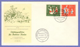 GER SC #B354-5 1957 S-P / Children Playing FDC 02-01-1957 - FDC: Covers