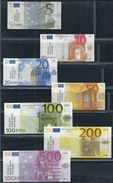 EURO Set, 5 - 500 €, Billet Scolaire, Edukativ-Geld, Paper Set EUROS, Size 500 € = 100 X 46 Mm,  RRR, Used, Be - EURO