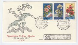 1957 SAN MARINO  FDC FLOWER Stamps Cover Flowers - FDC