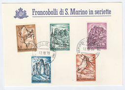 1970 SAN MARINO  COVER Special Card  MOUNTAINEERING MOUNTAIN CLIMBING  Stamps - San Marino