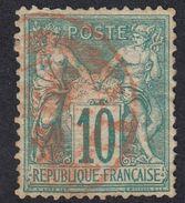 FRANCE Francia Frankreich -  1876 - Yvert 65 Obliterato Con Timbro Di Colore Rosso, 10 Cent, Verde. - 1876-1878 Sage (Type I)