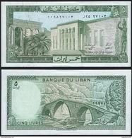 Lebanon P 62 D - 5 Livres 1986 - UNC - Libano