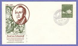 GER SC #779 1957 Joseph V. Eichendorff, Poet FDC 11-26-1957 - [7] Federal Republic