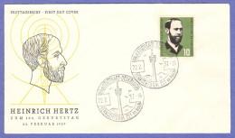 GER SC #762 1957 Heinrich Hertz FDC 02-22-1957 - [7] Federal Republic