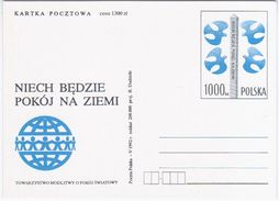 Poland Polska 1992 Let Peace Be On Earth, Society Of Prayer For World Peace - Stamped Stationery