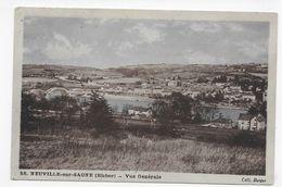 (RECTO / VERSO) NEUVILLE SUR SAONE EN 1950 - N° 58 - VUE GENERALE - BEAU CACHET - FORMAT CPA VOYAGEE - Neuville Sur Saone