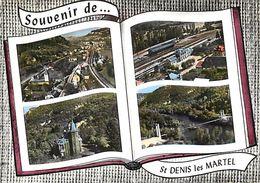 - Lot -gd Format-ref-U869- Saint Denis Les Martel - St Denis Les Martel -souvenir De .. - Multi Vues Dont Gare - Gares - France