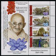 NIUAFO'OU 2016 - Ghandi, Faune Asiatique, Lion, éléphant, Rhinocéros Et Paon - BF Neufs // Mnh - Tonga (1970-...)