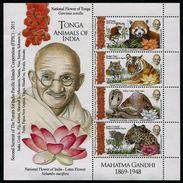 TONGA 2016 - Ghandi, Faune Hindou, Tigre, Léopard, Cobra Et Panda Rouge - BF Neufs // Mnh - Tonga (1970-...)