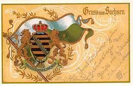 Gruss Aus Sachsen Coat Of Arms Providentiae Memor - Deutschland