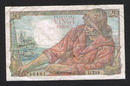 """) FRANKRIJK  20 FRANCS """" PÊCHEUR """" B.19=5= 1949.B - 1871-1952 Anciens Francs Circulés Au XXème"""