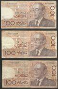 MAROC  =  3 00 DIRHAMS = 3 BILLETS DE BANQUE DE 100 DIRHAMS - Marokko