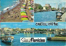 Lazio-fiumicino Vedute Darsena Porto Canale Spiaggia Saluti Da Fiumicino Anni 60 - Fiumicino