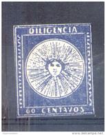 URUGUAY - SOL DE MAI - SOL DE MAYO - YVERT NR. 1 B INDIGO AÑO 1856 DILIGENCIAS IMPRESO POR MEGE Y WILLEMS SISTEMA LITOGR - Uruguay