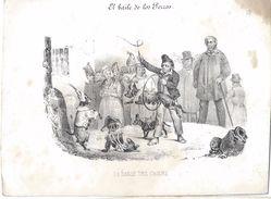 """Image Litho/""""les Animaux Savants""""/La Danse Des Chiens/d'aprés Dugourg/Turgis  Edit./Nepveu Lib./Paris/Vers 1840 IMA230 - Documentos Antiguos"""