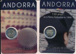 Andorra 2016 - 2x Offizielle 2 Euro Gedenkmünzen - Reformation 1866 & Rundfunk - Andorra