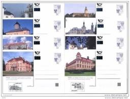 Série Complète  Châteaux Et Architecture 2002  De 8 Cartes A121/128 Avec Cachet Du Château Michel P 13 B  II - Postwaardestukken