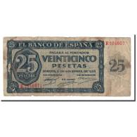 Espagne, 25 Pesetas, 1936, KM:99a, 1936-11-21, B - [ 3] 1936-1975: Franco