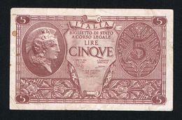 ) ITALIA  BIGLIETTO DI STATO A CORSO LEGALE 5 LIRE  1935 - [ 2] 1946-… : République
