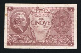 ) ITALIA  BIGLIETTO DI STATO A CORSO LEGALE 5 LIRE  1935 - [ 2] 1946-… : Repubblica