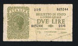 ) ITALIA  BIGLIETTO DI STATO A CORSO LEGALE 2 LIRE 1944 - [ 2] 1946-… : Républic