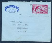 G182- Postal Used Aerogramme. Posted From Nigeria To Italy. Birds. Parrot. - Nigeria (1961-...)