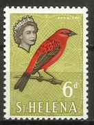 St Helena - 1961 Red Fody 6d (chalky Paper) MNH **    SG 181a  Sc 164a - Saint Helena Island