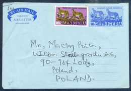 G192- Postal Used Aerogramme. Posted From Nigeria To Poland. Animals. Leopard. - Nigeria (1961-...)