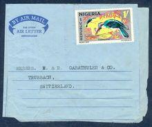 G193- Postal Used Aerogramme. Posted From Nigeria To Switzerland. Fauna. Vogel Bird. - Nigeria (1961-...)