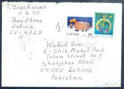 G199-  Postal Used Cover. Posted From Latvia To Pakistan. Latvija. Christmas. - Latvia