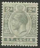 St Lucia - 1913 King George V 2d  MLH *    SG 80  Sc 66 - St.Lucia (1979-...)