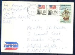 G287- USA United States Postal History Cover. Post To U.K. England. Ship. Flag. - United States