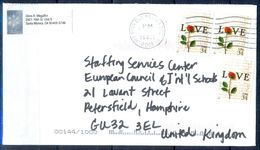 G297- USA United States Postal History Cover. Post To U.K. England. Flowers. Love. - United States