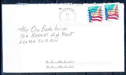 G298- USA United States Postal History Cover. Post To U.K. England. Flag. - United States