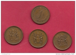 RHODESIA, 1970, 4 Off, Nicely Used Coins 1 Cent KM10 C2731 - Rhodesia