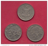 NAMIBIA, 1998, 3 Off, Nicely Used Coins 10 Cents KM2, C2741 - Namibië