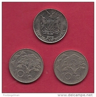 NAMIBIA, 2002, 3 Off, Nicely Used Coins 10 Cents KM2, C2742 - Namibia