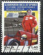 ITALIA REPUBBLICA ITALY REPUBLIC 2009 FESTIVAL DELLA FILATELIA GIORNATA DELLO SPORT MICHELE ALBORETO € 1,40 USATO U - 6. 1946-.. Repubblica