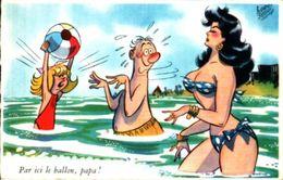 Pedro Segui - Par Ici Le Ballon, Papa (plage Pin-up - Künstlerkarten