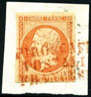 """N°16, 40 C. Orange, Oblitéré De La Griffe Rouge """"PIROSCAFI/POSTALI/FRANCESI"""" Sur Petit Fragment, TB - 1853-1860 Napoleon III"""